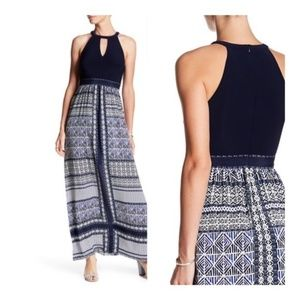 Vince Camuto Navy Blue Printed Maxi Dress